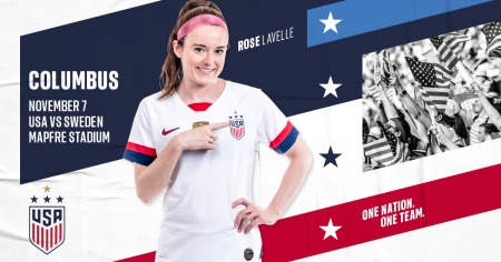 The U.S. Soccer Women's National Team comes to Columbus for a friendly vs. Sweden on Nov. 7, 2019.