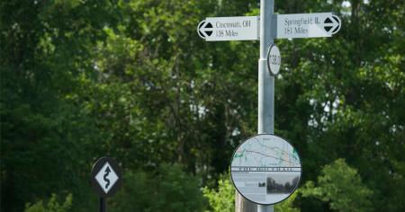 Signage on the B&O Trail pays tribute to its history.
