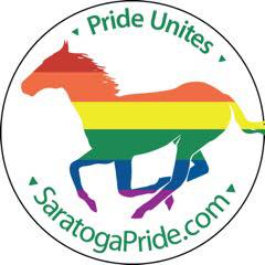 SaratogaPride.com Pride Unites logo with rainbow horse