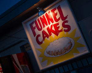 Funnel Cakes sign at Becky's Drive In