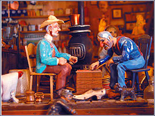Miniature checkers exhibit at Tinkertown in the East Mountains along the Turquoise Trail of New Mexico