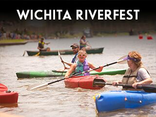 kayaks on the river for wichita riverfest information button in wichita ks