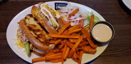 Chicken Avacado Sandwich with Sweet Potato Fries at Milwakee Burger Compny