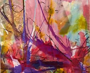 Colorful abstract painting by Leah Griffiths