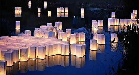 Floating lantern ceremony at the Cameron