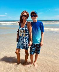 Miriam Porter and son Noah on the beach
