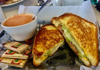 Oasis Diner Deluxe Grilled Cheese with homemade Tomato Basil Bisque soup was the perfect combination!