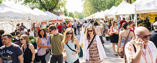 Boulder Farmers' Market Tents & Attendees