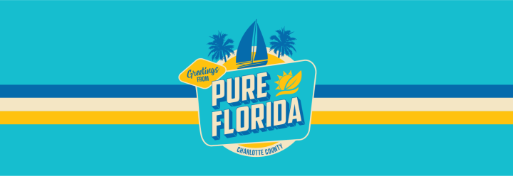 Graphic banner of Pure Florida retro treatment used on T-shirt