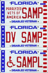 Image with three examples of what Florida's Disabled Veterans License Tag looks like.