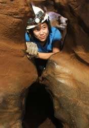 Spelunker in Cavern