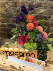 Flower Bouquet and sleeve of Macarons from Lavender Hill