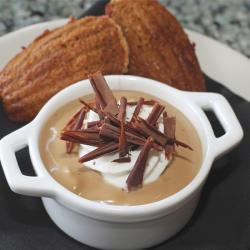Dewar's Butterscotch Pudding with Chantilly Cream, Dark Chocolate and Ginger Madeleine