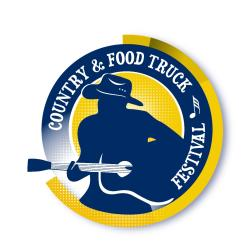 Country & Food Truck Festival logo - silhouette of person in cowboy hat playing acoustic guitar.