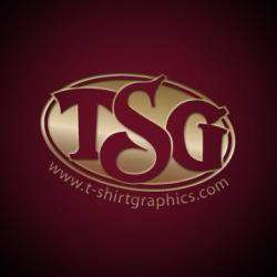 TSG www.t-shirtgraphics.com logo in maroon
