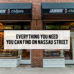 Everything you need is on Nassau Street, shows Jammin Crepes Store front