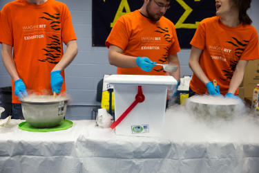 students make ice cream with liquid nitrogent at Imagine RIT in Rochester, NY