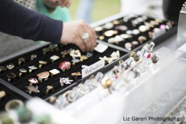 Shopping for jewerly at the Rochester Lilac Festival