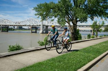 Pair Of Bikers on the Ohio River Greenway