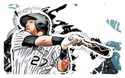 A stylized image of the famous athlete Trevor Story in his Colorado Rockies team uniform.