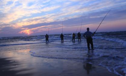Group Surf Fishing in OBX
