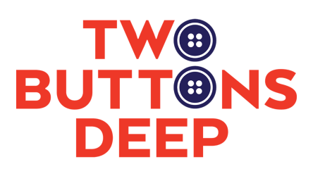 Two Buttons Deep logo in red with blue buttons