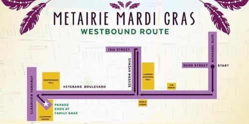 Metairie Westbound Parade Route