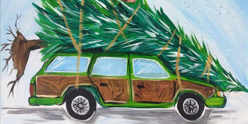 Painting of a station wagon with a Christmas tree strapped to the top