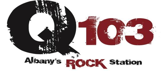 Q 103 Albany's Rock Station Logo black and red