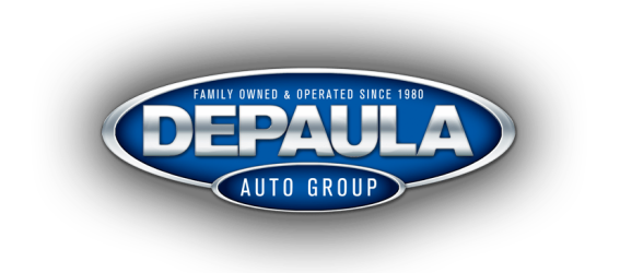 Family owned & operated since 1980 DePaula Auto Group logo in blue and silver