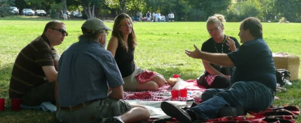 3 men and 2 women Picnicking at Chautauqua Park