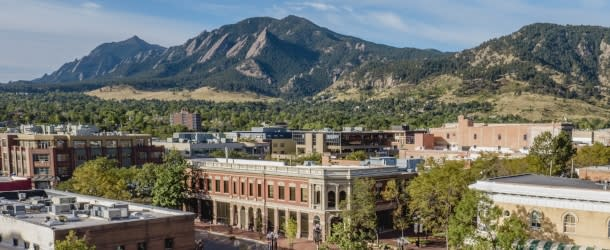 Downtown Boulder with Flatirons