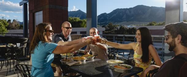 Group Dining on Patio Boulder