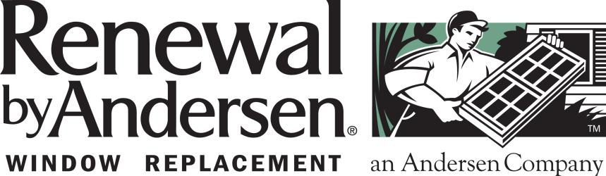 Renewal by Anderson window replacement an Anderson Company logo with man installing window