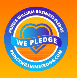 Orange box with blue circle with heart in middle with text that reads Prince William Business Pledge at top, in middle we pledge, and on bottom website PrinceWilliamStrong.com
