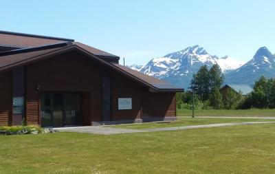 an LDS church; mountain peaks in background