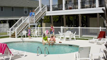Beach House with Family at Pool