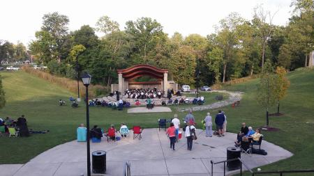 Concert setup at tower park in fort thomas ky