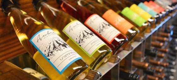 The Downtown Overland Park Tasting Room Bottle Display