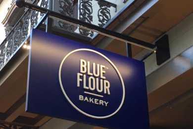 Blue Flour Bakery Main Street sign