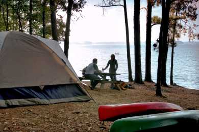 Camping at Dreher Island