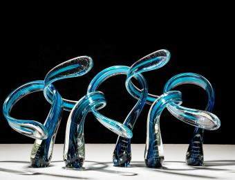 Infinity Glass blue swirls Visit Wichita