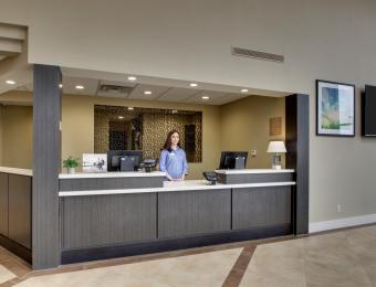 Canclewood E front desk Visit Wichita