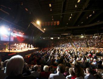 Hartman Arena stage Visit Wichita