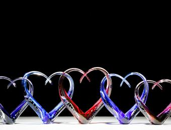 Infinity Glass hearts Visit Wichita