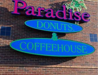 Paradise Donuts sign Visit Wichita
