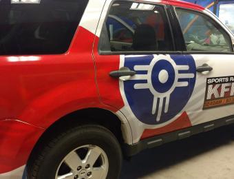 US Logo Lobby-Monitor-107.3 car wrap