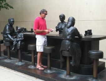 Dockum Sit-in lunch counter in bronze