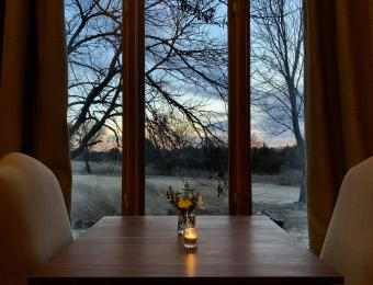 A table for two in the South Dining Room at Elderslie Farm