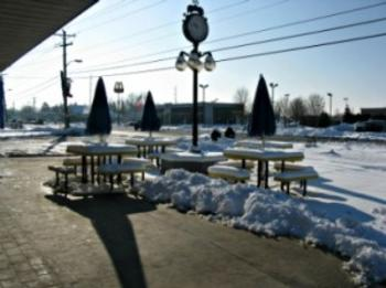 When the weather is better, Hilligoss provides some nice outdoor seating to enjoy your pastry.